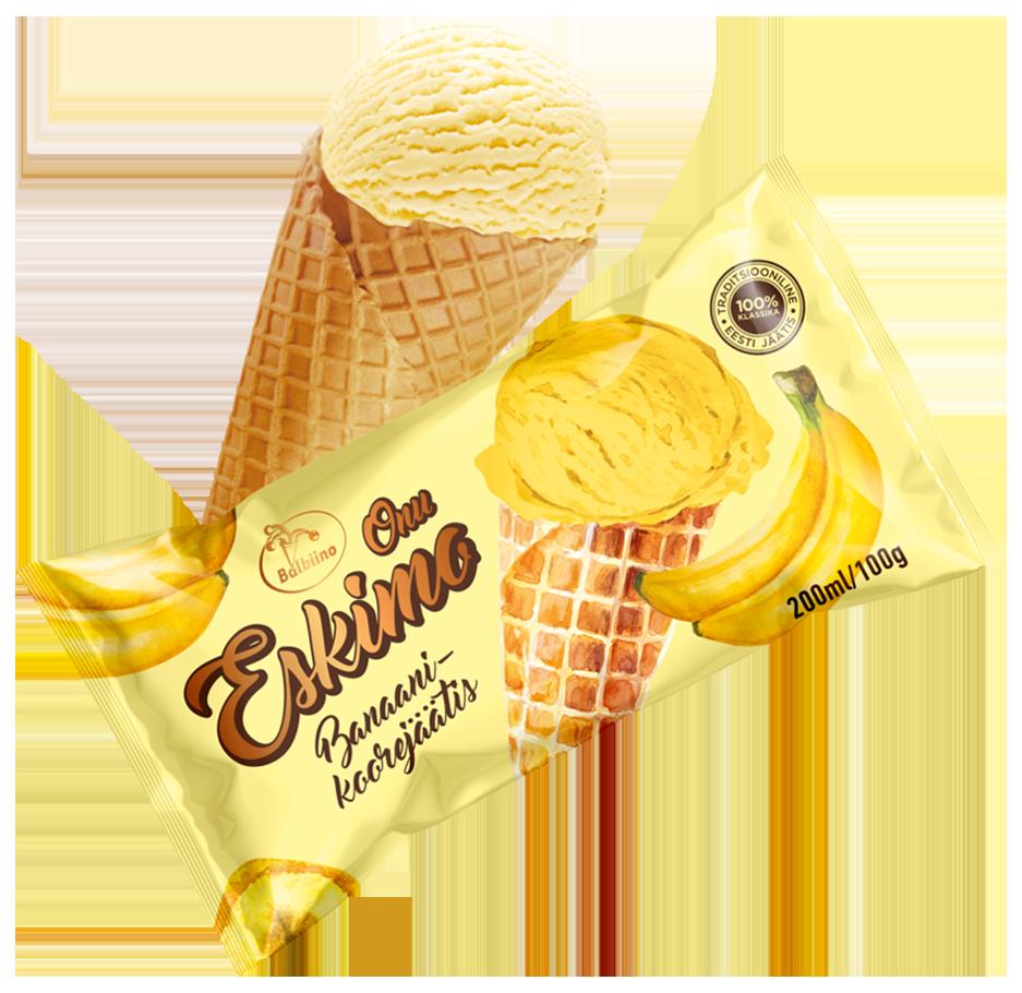 Onu Eskimo Banaani-koorejäätis vahvlikoonuses