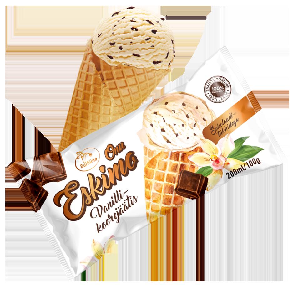 Onu Eskimo Vanilla dairy ice cream with chocolate chips on wafer cone