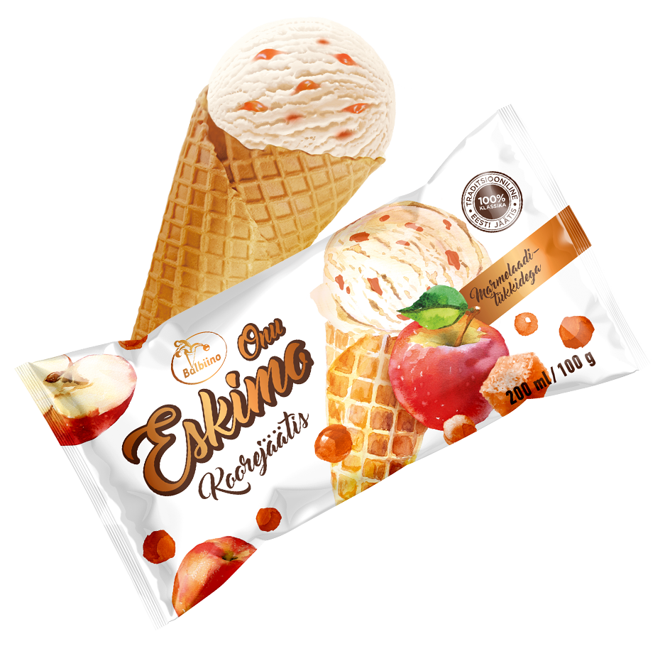 Onu Eskimo dairy ice cream with apple and jelly pieces in a wafer cone