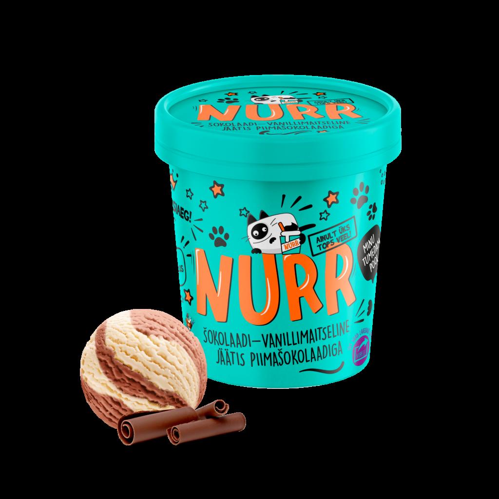 Nurr chocolate and vanilla flavoured dairy ice cream